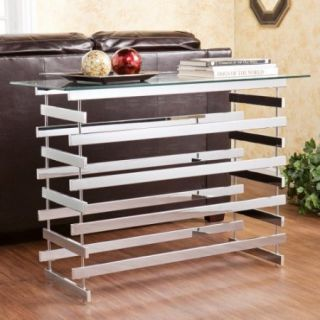 Southern Enterprises Ginnifer Glass Console Table   Chrome