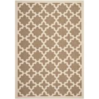 Safavieh Indoor/ Outdoor Courtyard Collection Brown/ Bone Rug (53 x 7