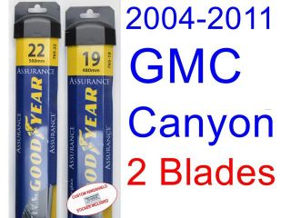 2004 2011 GMC Canyon Replacement Wiper Blade Set/Kit (Set of 2 Blades) (Goodyear Wiper Blades Assurance) (2005,2006,2007,2008,2009,2010)