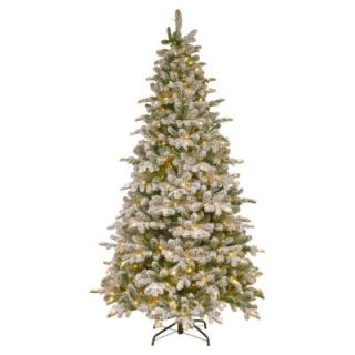 National Tree Company 7 1/2 ft. Feel Real Snowy Everest Fir Medium Hinged Artificial Christmas Tree with 450 Clear Lights PEV3 311 75