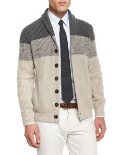 Brunello Cucinelli Cashmere Colorblock Button Down Cardigan, Navy