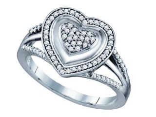 10K White Gold 0.25CT White Round Cut Diamond Micro Pave Heart  Ring