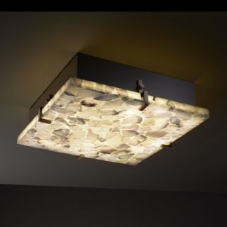 Alabaster Rocks Clips 4 Light Square Flush Mount by Justice Design