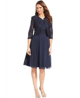 Jessica Howard Petite Sleeveless Sequin Lace Dress and Jacket