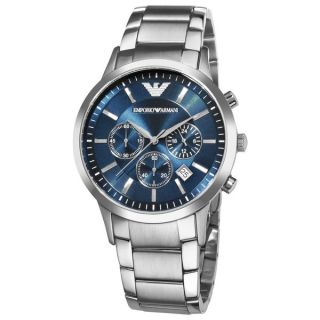 Emporio Armani Mens AR2448 Classic Chronograph Silver Stainless