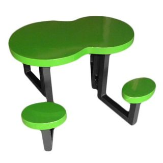 OFab Kids Peanut Picnic Table with Black Base   Kids Outdoor Chairs