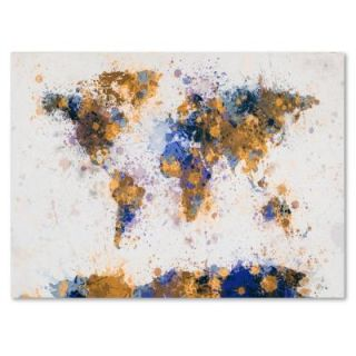 "22 in. x 32 in. ""Paint Splashes World Map 2"" Canvas Art MT0204 C2232GG"