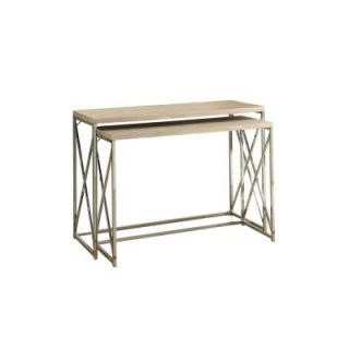 Monarch Specialties Reclaimed Look/Chrome Metal Console Table in Natural (2 Piece) I 3207