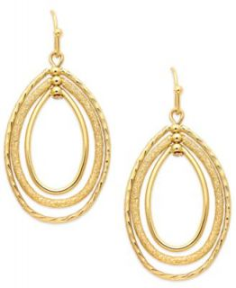 Charter Club Gold Tone Oval Oribital Drop Earrings