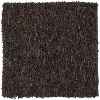 Safavieh Handmade Leather Shag Dark Brown Leather Rug (8 Square