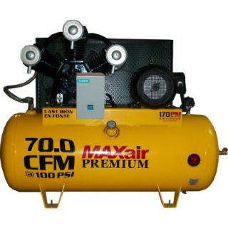 Maxair Premium Industrial 120 Gal. 15 HP Electric 208 Volt Single Stage 3 Phase Air Compressor C153120H1 MS208 MAP