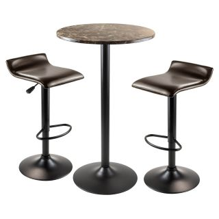 Winsome Trading Cora 3 Piece Round Pub Table Set   Black   Pub Tables