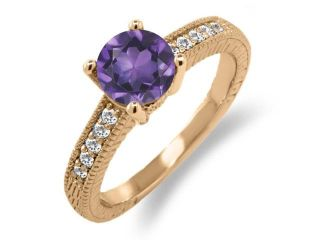 1.40 Ct Round Purple Amethyst White Sapphire 18K Rose Gold Plated Silver Ring