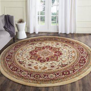 Safavieh Lyndhurst Collection Ivory/ Red Area Rug (8 Round)