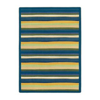 Joy Carpets Yipes Stripes 10 ft 9 in x 7 ft 8 in Oval Multicolor Geometric Area Rug