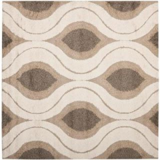 Safavieh Florida Shag Cream/Smoke 4 ft. x 4 ft. Square Area Rug SG461 1179 4SQ